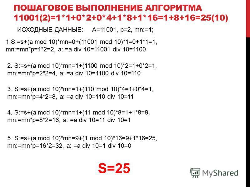 ИСХОДНЫЕ ДАННЫЕ:A=11001, p=2, mn:=1; 1.S:=s+(a mod 10)*mn=0+(11001 mod 10)*1=0+1*1=1, mn:=mn*p=1*2=2, a: =a div 10=11001 div 10=1100 2. S:=s+(a mod 10)*mn=1+(1100 mod 10)*2=1+0*2=1, mn:=mn*p=2*2=4, a: =a div 10=1100 div 10=110 3. S:=s+(a mod 10)*mn=1