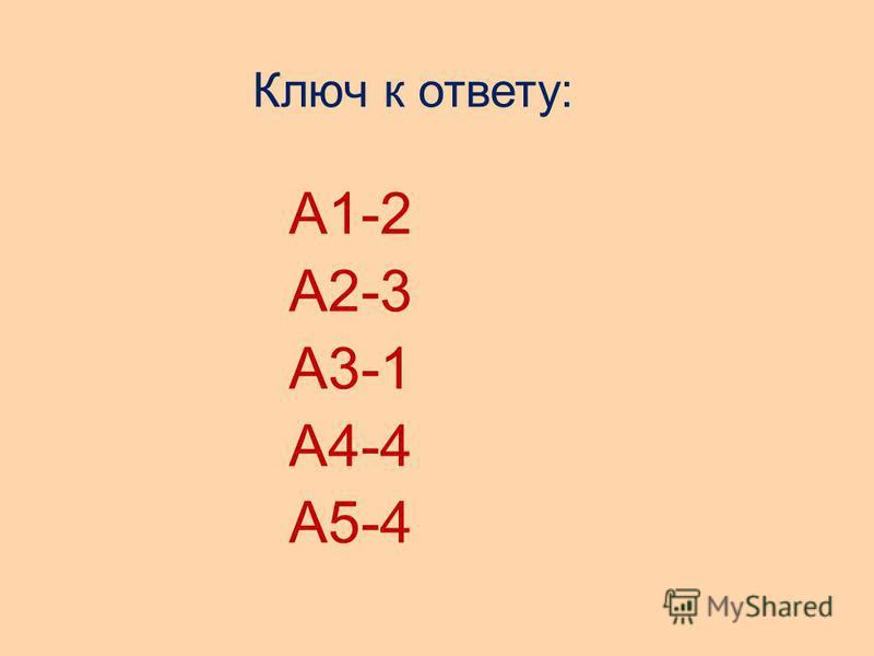 Ключ к ответу: А1-2 А2-3 А3-1 А4-4 А5-4