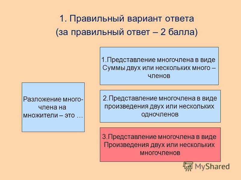 Разложение много- члена на множители – это … 1. Представление многочлена в виде Суммы двух или нескольких много – членов 2. Представление многочлена в виде произведения двух или нескольких одночленов Представление многочлена в виде Произведения двух