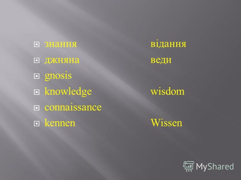 знаннявідання джнянаведи gnosis knowledgewisdom c onnaissance kennenWissen