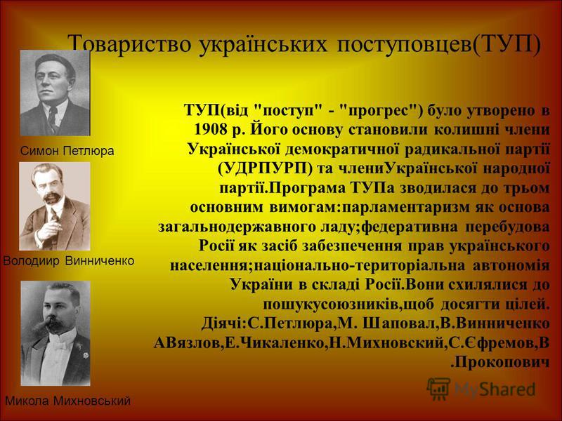 Товариство українських поступовцев(ТУП) ТУП(від