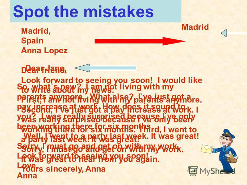 Madrid, Spain Anna Lopez Dear friend, Look forward to seeing you soon! I would like to write about my news. First, I am not living with my parents anymore. Second, I`ve just got a pay increase at work. I was really surprised because I`ve only been wo