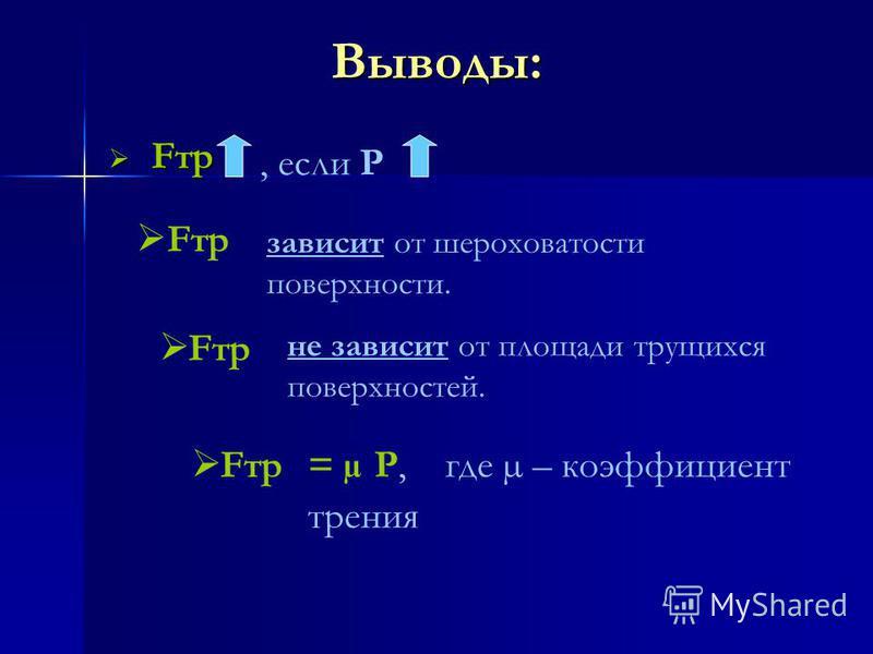 Выводы: Fтр Fтр, если Р Fтр зависит от шероховатости поверхности. не зависит от площади трущихся поверхностей. Fтр = µ Р, где µ – коэффициент трения