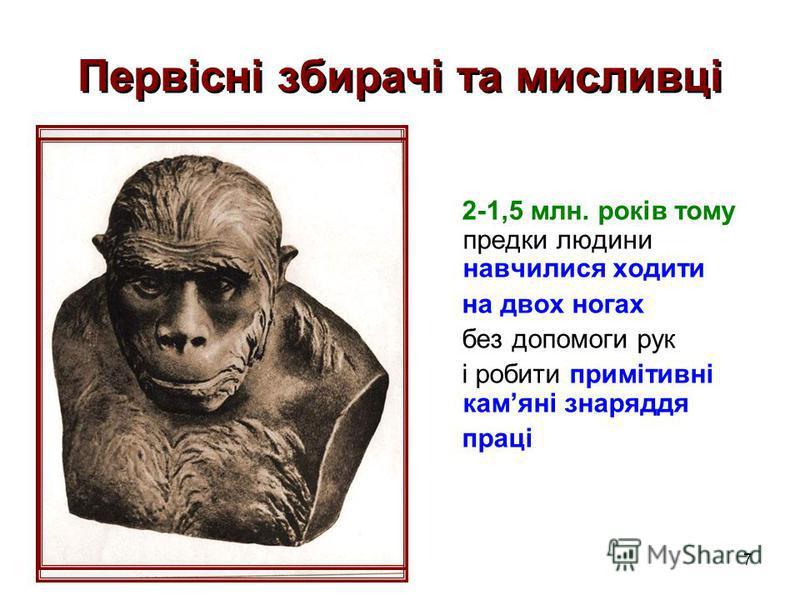 7 Первісні збирачі та мисливці 2-1,5 млн. років тому предки людини навчилися ходити на двох ногах без допомоги рук і робити примітивні камяні знаряддя праці