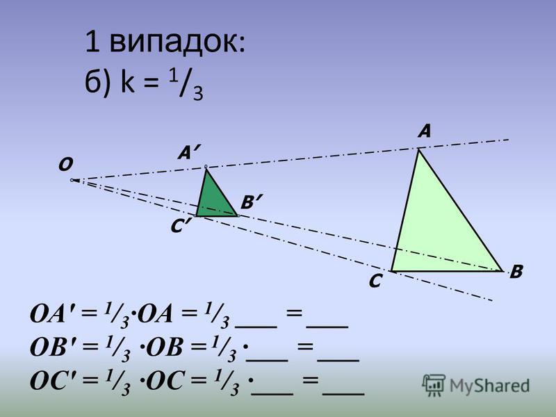 1 випадок : б) k = 1 / 3 А В С О А В С ОА = 1 / 3 ОА = 1 / 3 ___ = ___ ОВ = 1 / 3 ОВ = 1 / 3 ___ = ___ ОС = 1 / 3 ОС = 1 / 3 ___ = ___