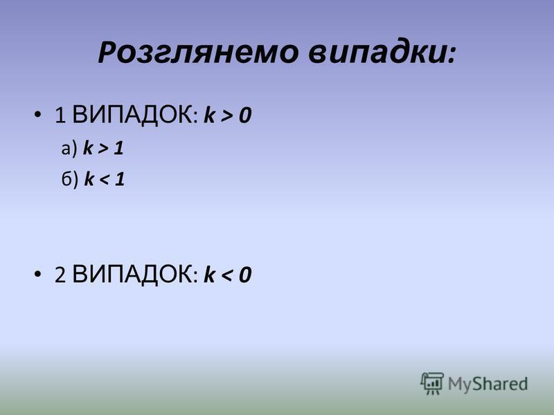 Р озглянемо випадки : 1 ВИПАДОК : k > 0 а) k > 1 б) k < 1 2 ВИПАДОК : k < 0