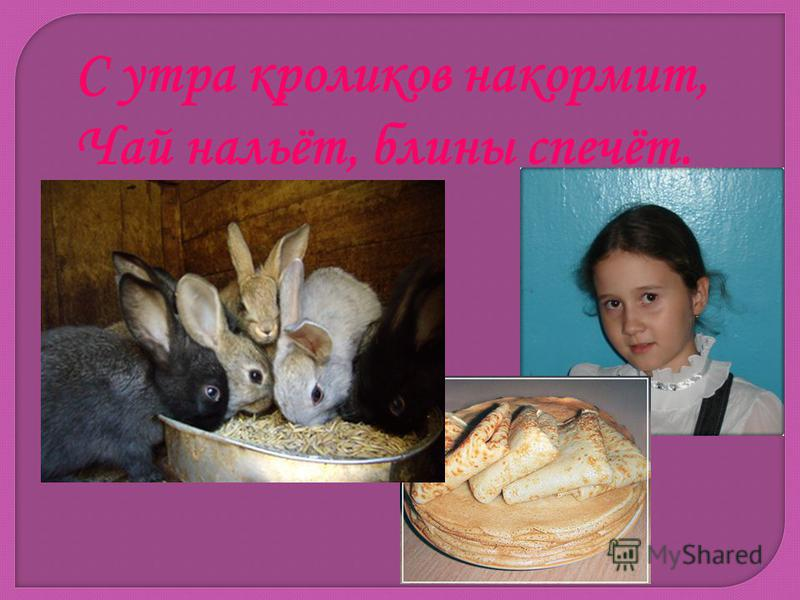 С утра кроликов накормит, Чай нальёт, блины спечёт.