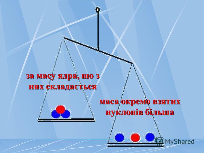 за масу ядра, що з них складається маса окремо взятих нуклонів більша