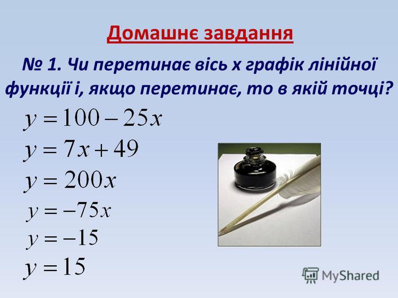 Домашнє завдання 1. Чи перетинає вісь x графік лінійної функції і, якщо перетинає, то в якій точці?