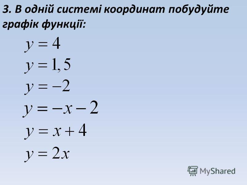 3. В одній системі координат побудуйте графік функції: