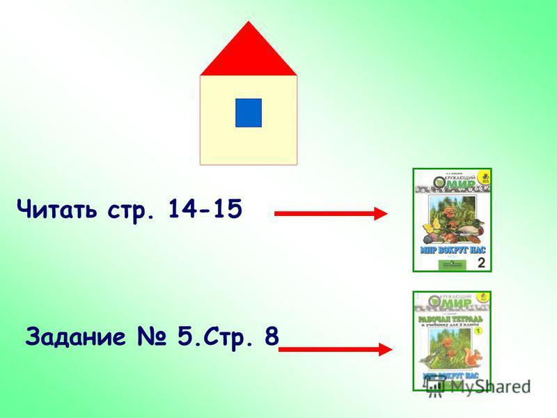 Читать стр. 14-15 Задание 5.Стр. 8
