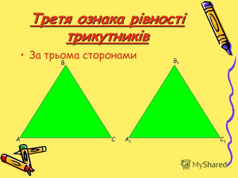 Третя ознака рівності трикутників За трьома сторонами А В СА1А1 В1В1 С1С1