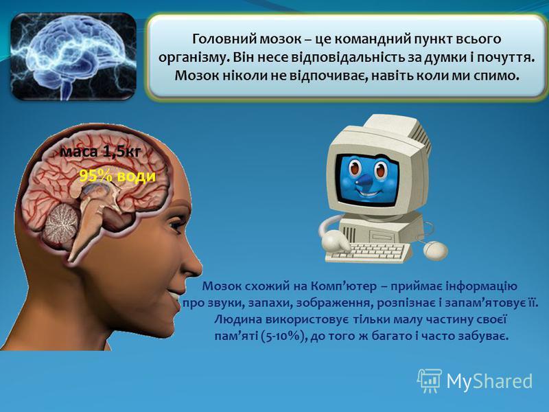 Головний мозок – це командний пункт всього організму. Він несе відповідальність за думки і почуття. Мозок ніколи не відпочиває, навіть коли ми спимо. Мозок схожий на Компютер – приймає інформацію про звуки, запахи, зображення, розпізнає і запамятовує