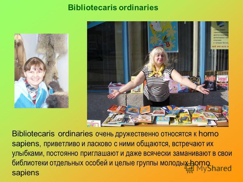 Bibliotecaris ordinaries Bibliotecaris ordinaries очень дружественно относятся к homo sapiens, приветливо и ласково с ними общаются, встречают их улыбками, постоянно приглашают и даже всячески заманивают в свои библиотеки отдельных особей и целые гру