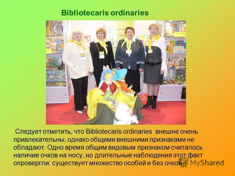 Bibliotecaris ordinaries Следует отметить, что Bibliotecaris ordinaries внешне очень привлекательны, однако общими внешними признаками не обладают. Одно время общим видовым признаком считалось наличие очков на носу, но длительные наблюдения этот факт