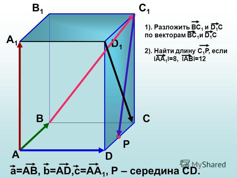 А ВС D А1А1 В1В1 С1С1 D1D1 а=АВ, b=АD,с=АА 1, Р – середина СD. Р 1). Разложить ВС 1 и D 1 С по векторам ВС 1 и D 1 C 2). Найти длину С 1 Р, если l АА 1 l =8, l АВ l =12