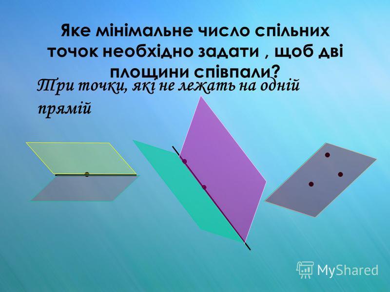 Яке мінімальне число спільних точок необхідно задати, щоб дві площини співпали? Три точки, які не лежать на одній прямій