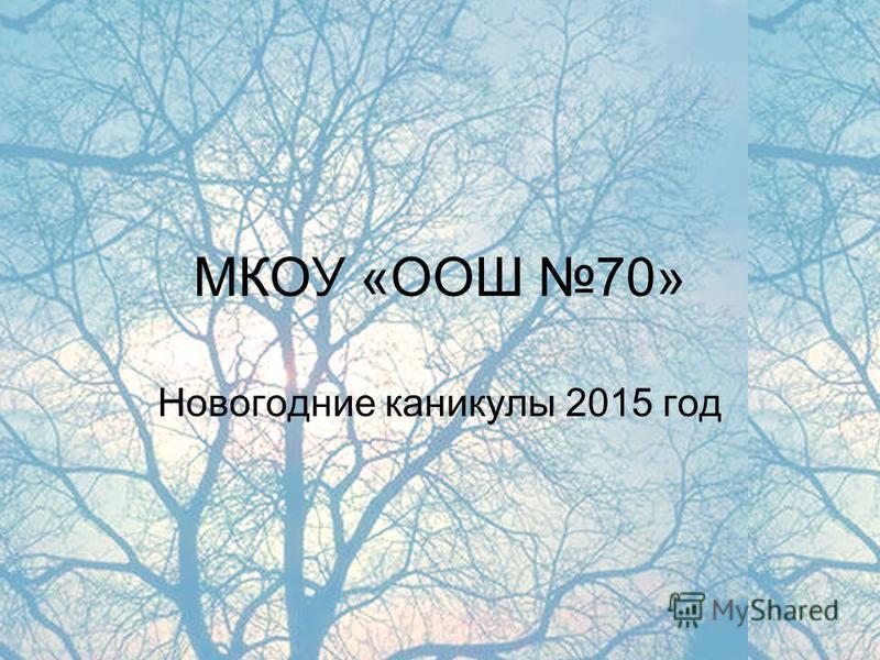 МКОУ «ООШ 70» Новогодние каникулы 2015 год
