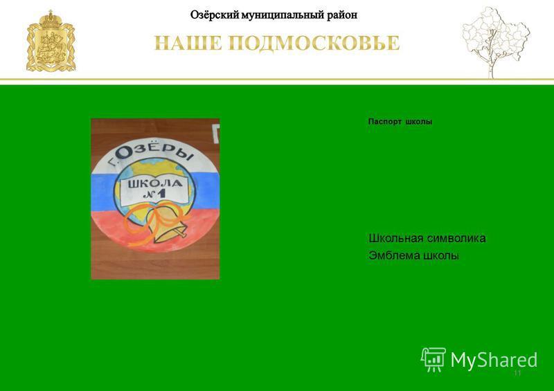 Паспорт школы Люберецкий муниципальный район Школьная символика Эмблема школы 11