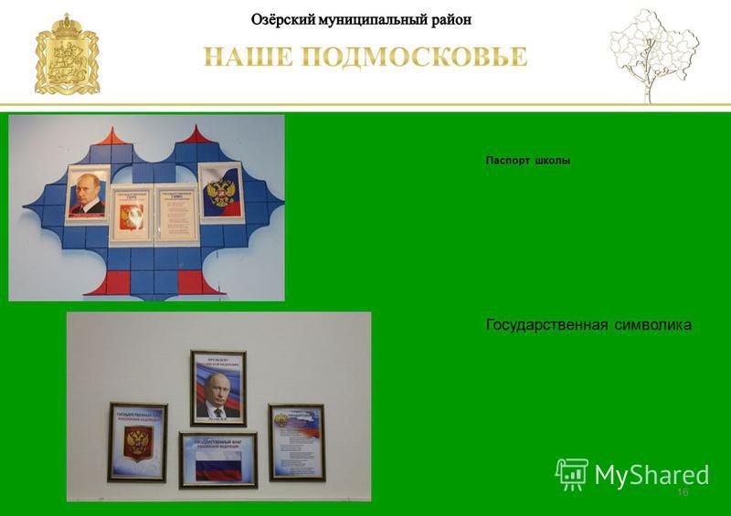 Паспорт школы Люберецкий муниципальный район 16 Государственная символика