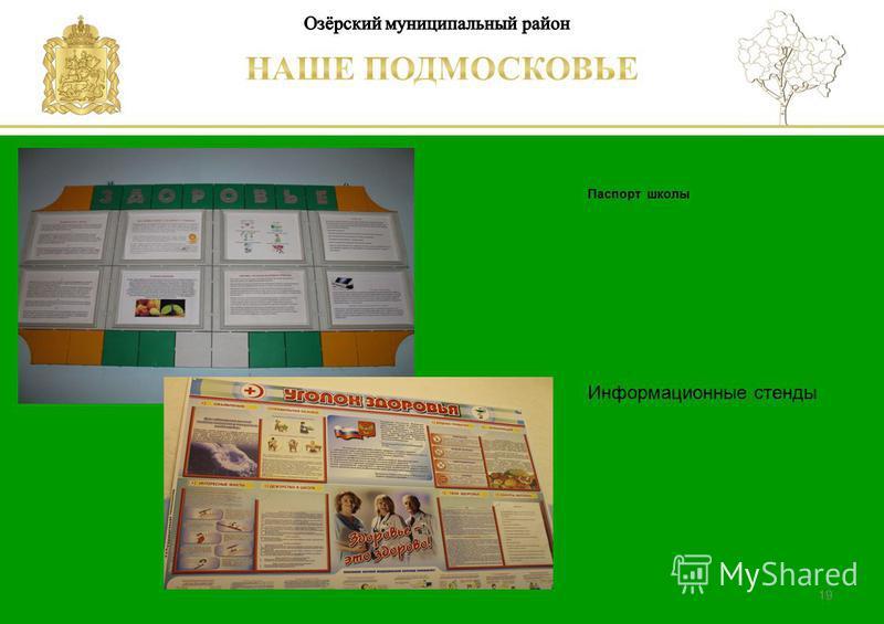 Паспорт школы Люберецкий муниципальный район 19 Информационные стенды