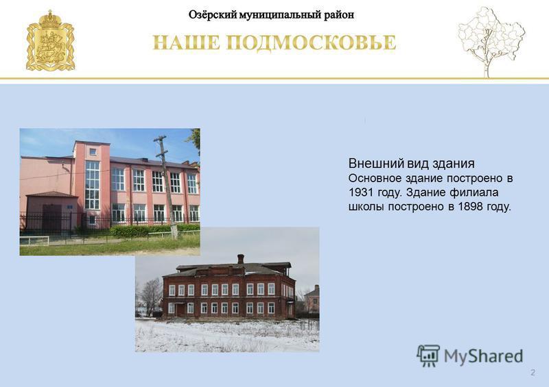 Паспорт школы Люберецкий муниципальный район 2 Внешний вид здания Основное здание построено в 1931 году. Здание филиала школы построено в 1898 году. филиал