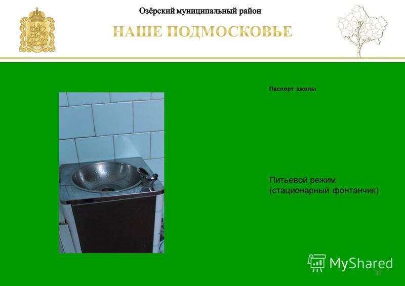 Паспорт школы Люберецкий муниципальный район 33 Питьевой режим (стационарный фонтанчик)