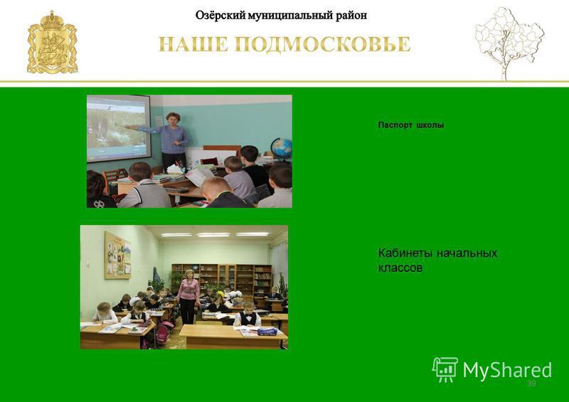 Паспорт школы Люберецкий муниципальный район 39 Кабинеты начальных классов