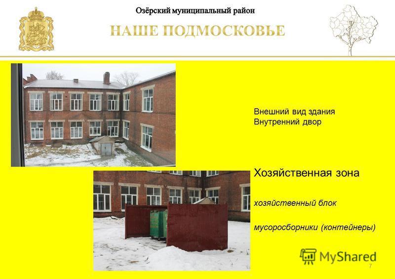 Паспорт школы Люберецкий муниципальный район Внешний вид здания Внутренний двор Хозяйственная зона хозяйственный блок мусоросборники (контейнеры) 7
