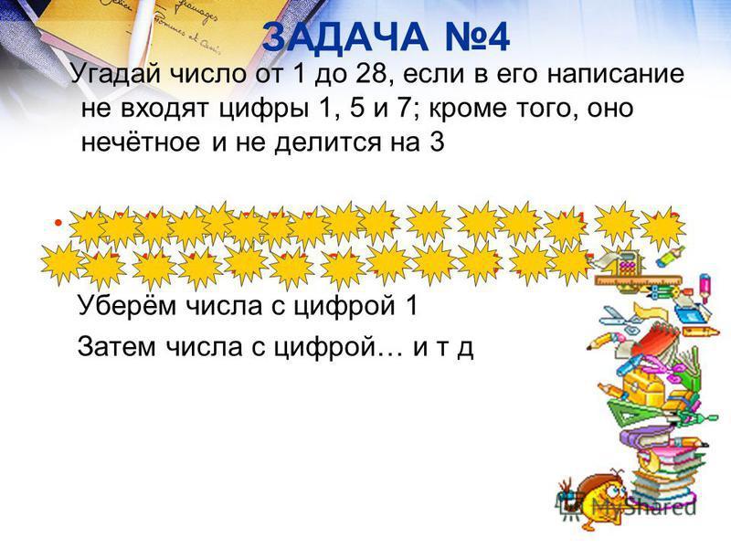 ЗАДАЧА 4 Угадай число от 1 до 28, если в его написание не входят цифры 1, 5 и 7; кроме того, оно нечётное и не делится на 3 1 2 3 4 5 6 7 8 9 10 11 12 13 14 15 16 17 18 19 20 21 22 23 24 25 26 27 28 Уберём числа с цифрой 1 Затем числа с цифрой… и т д
