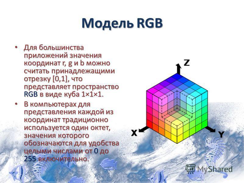 Модель RGB Для большинства приложений значения координат r, g и b можно считать принадлежащими отрезку [0,1], что представляет пространство RGB в виде куба 1×1×1. Для большинства приложений значения координат r, g и b можно считать принадлежащими отр