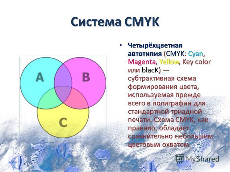 Система CMYK Четырёхцветная автотипия (CMYK: Cyan, Magenta, Yellow, Key color или blacK) субтрактивная схема формирования цвета, используемая прежде всего в полиграфии для стандартной триадной печати. Схема CMYK, как правило, обладает сравнительно не