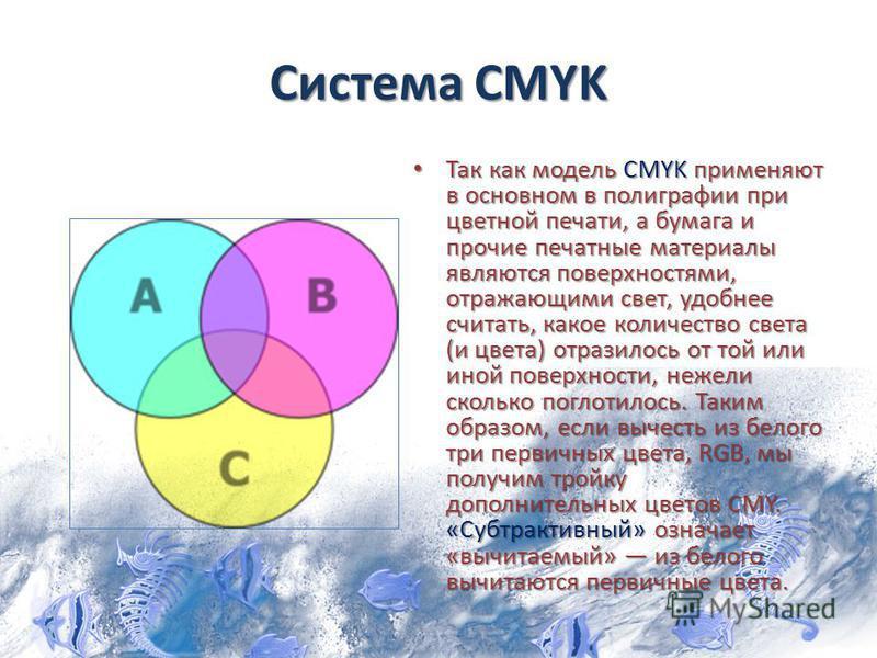 Система CMYK Так как модель CMYK применяют в основном в полиграфии при цветной печати, а бумага и прочие печатные материалы являются поверхностями, отражающими свет, удобнее считать, какое количество света (и цвета) отразилось от той или иной поверхн