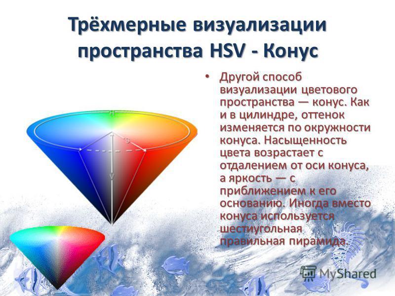Трёхмерные визуализации пространства HSV - Конус Другой способ визуализации цветового пространства конус. Как и в цилиндре, оттенок изменяется по окружности конуса. Насыщенность цвета возрастает с отдалением от оси конуса, а яркость с приближением к