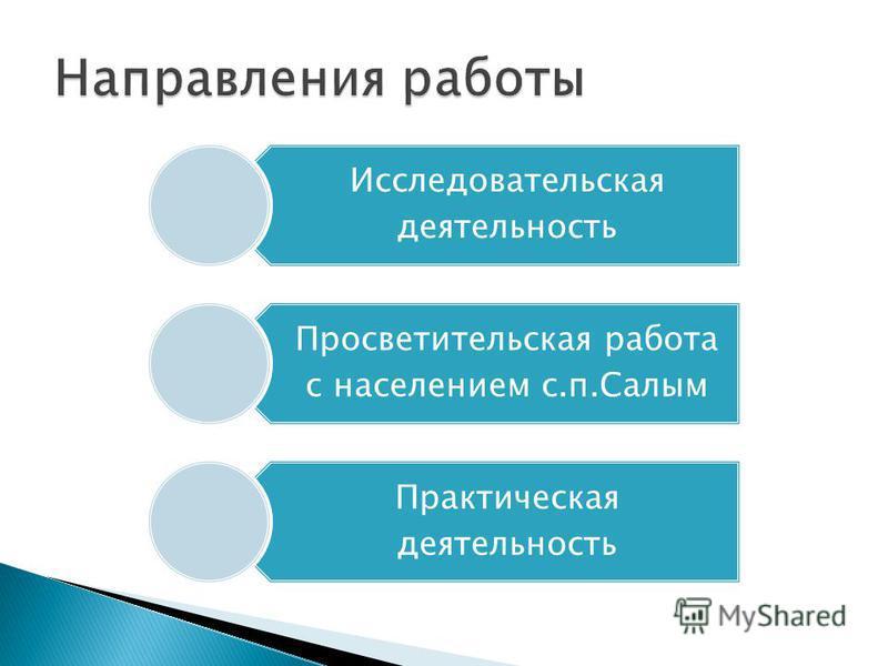 Исследовательская деятельность Просветительская работа с населением с.п.Салым Практическая деятельность