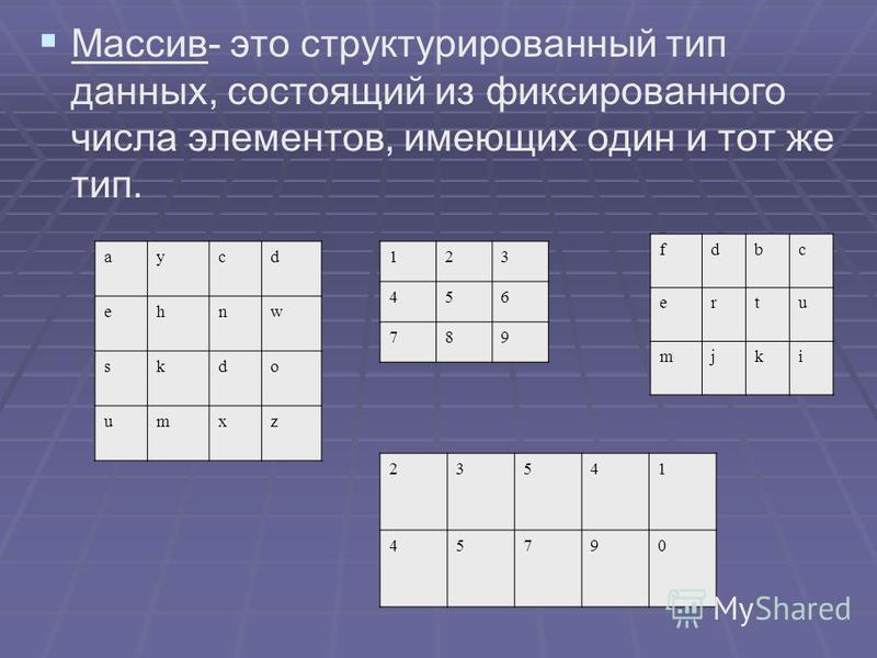 Массив- это структурированный тип данных, состоящий из фиксированного числа элементов, имеющих один и тот же тип. аycd ehnw skdo umxz 123 456 789 fdbc ertu mjki 23541 45790