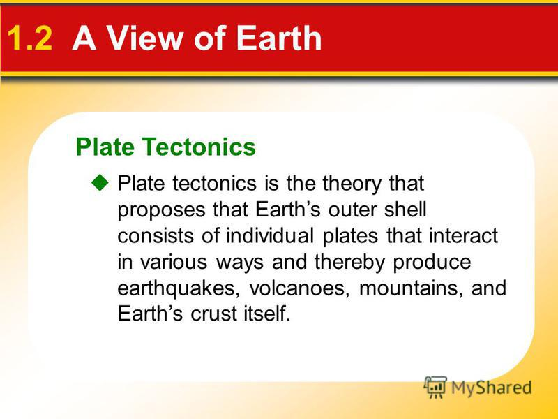 Plate Tectonics 1.2 A View of Earth Plate tectonics is the theory that proposes that Earths outer shell consists of individual plates that interact in various ways and thereby produce earthquakes, volcanoes, mountains, and Earths crust itself.