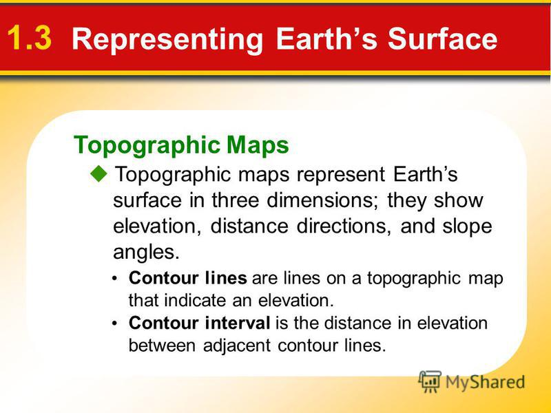 Topographic Maps 1.3 Representing Earths Surface Topographic maps represent Earths surface in three dimensions; they show elevation, distance directions, and slope angles. Contour lines are lines on a topographic map that indicate an elevation. Conto