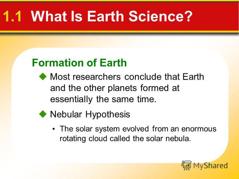 Formation of Earth The solar system evolved from an enormous rotating cloud called the solar nebula. Most researchers conclude that Earth and the other planets formed at essentially the same time. Nebular Hypothesis 1.1 What Is Earth Science?