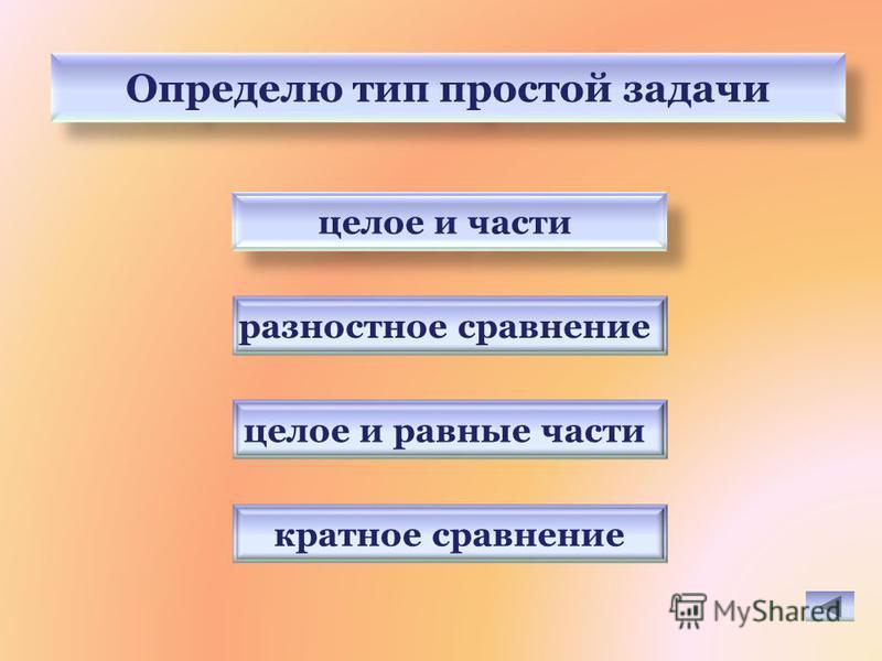 Определю тип простой задачи целое и равные части разностное сравнение кратное сравнение целое и части