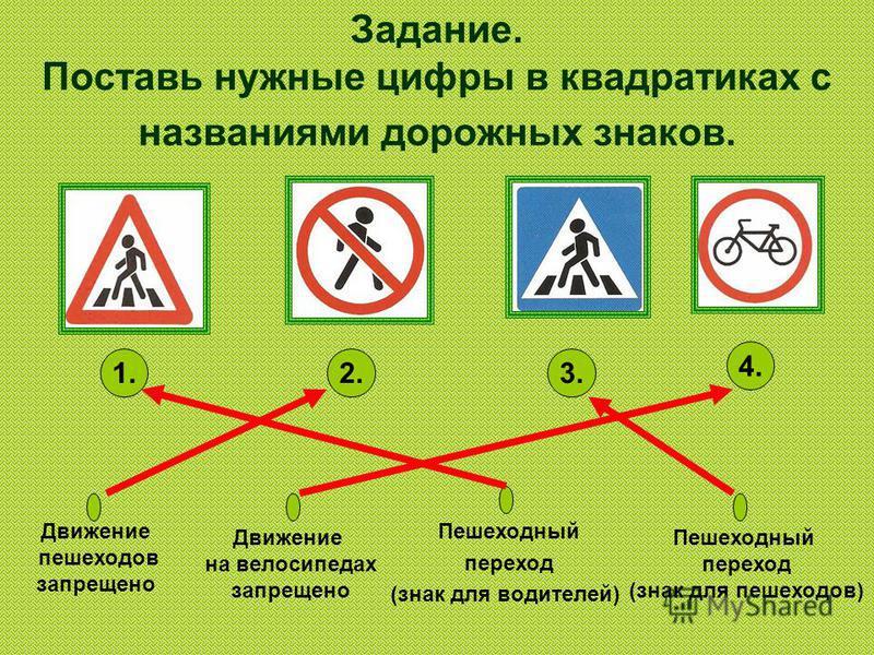 Задание. Поставь нужные цифры в квадратиках с названиями дорожных знаков. Движение пешеходов запрещено Движение на велосипедах запрещено Пешеходный переход (знак для пешеходов) Пешеходный переход (знак для водителей) 1.2.3. 4.