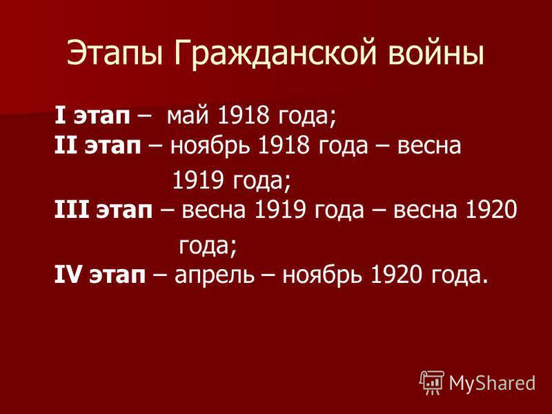 Этапы Гражданской войны I этап – май 1918 года; II этап – ноябрь 1918 года – весна 1919 года; III этап – весна 1919 года – весна 1920 года; IV этап – апрель – ноябрь 1920 года.