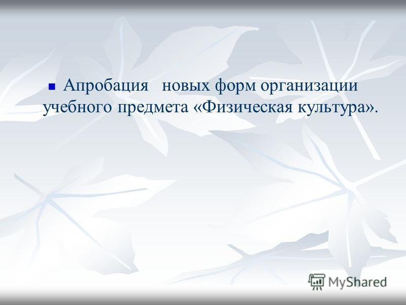 Апробация новых форм организации учебного предмета «Физическая культура».