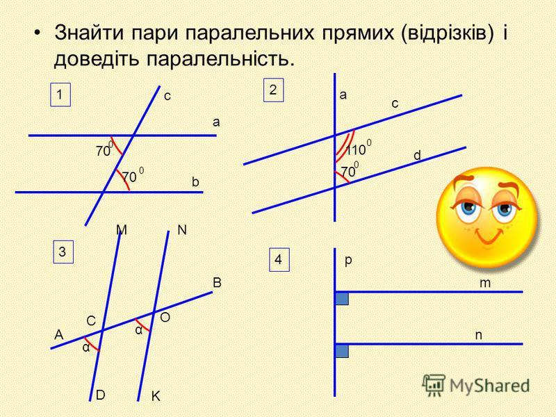 Знайти пари паралельних прямих (відрізків) і доведіть паралельність. 1 a b c 70 0 0 2 a c d 110 0 70 0 3 M D N K A B C O α α 4 p m n