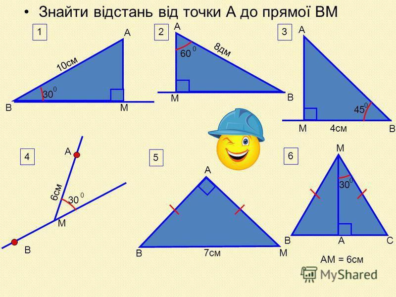 Знайти відстань від точки А до прямої ВМ 1 30 0 10см ВМ А 2 60 0 8дм М А В 3 45 0 4смМ В А В 4 М А 30 0 6см 5 В А М7см 30 0 А 6 В М С АМ = 6см