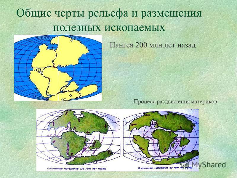 Общие черты рельефа и размещения полезных ископаемых Пангея 200 млн.лет назад Процесс раздвижения материков