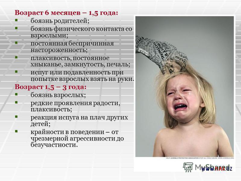 Возраст 6 месяцев – 1,5 года: боязнь родителей; боязнь родителей; боязнь физического контакта со взрослыми; боязнь физического контакта со взрослыми; постоянная беспричинная настороженность; постоянная беспричинная настороженность; плаксивость, посто