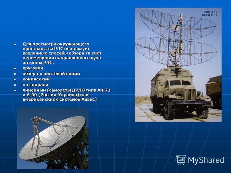 Для просмотра окружающего пространства РЛС использует различные способы обзора за счёт перемещения направленного луча антенны РЛС: Для просмотра окружающего пространства РЛС использует различные способы обзора за счёт перемещения направленного луча а