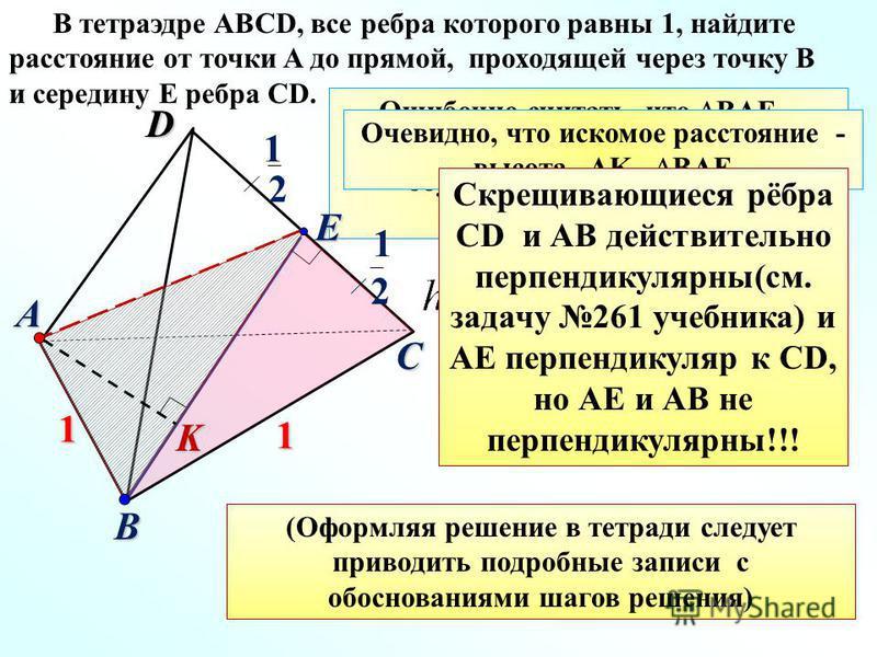 D C A B 1 1 K Ошибочно считать, что BAE – прямоугольный (как иногда думают обучающиеся и пользуются формулой) 2 1 E 2 1 В тетраэдре ABCD, все ребра которого равны 1, найдите расстояние от точки A до прямой, проходящей через точку B и середину E ребра