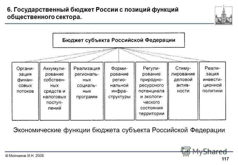 117 Молчанов И.Н. 2008 6. Государственный бюджет России с позиций функций общественного сектора. Экономические функции бюджета субъекта Российской Федерации